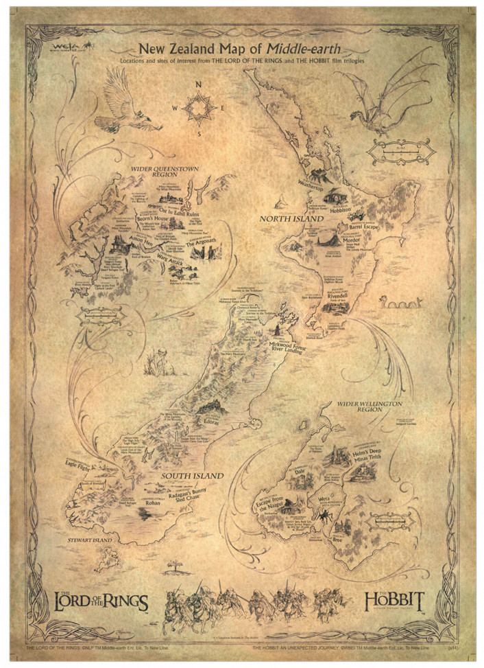 The Hobbit Art Print NZ Map of Middle Earth LOTR & Hobbit Locations ...