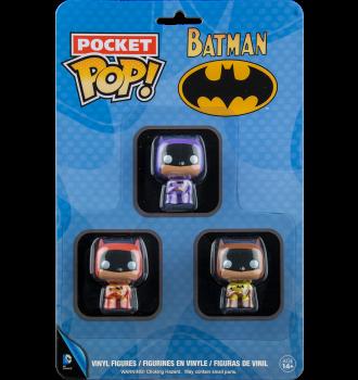 FUNKO POCKET POP VINYL DC BATMAN RAINBOW 3 PACK EXCLUSIVE BLUE GREEN /& PINK